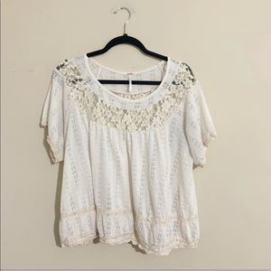 Free People Cream Lace Flowy Top Size Medium Sheer